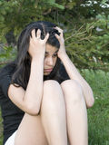 Depressed Hispanic Girl Stock Image