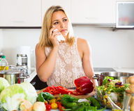 Depressed housewife feeling blue indoors Stock Images