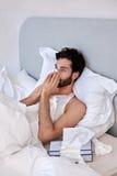 Depressed ill man tissues Royalty Free Stock Photo