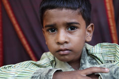 Depressed Indian Little Boy. Posing to Camera Royalty Free Stock Images
