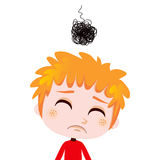 Depressed Kid. Portrait illustration of a worried kid expressing sadness and depression Stock Photos