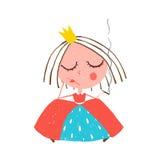 Depressed Little Princess Smoking Cigarette Stock Image