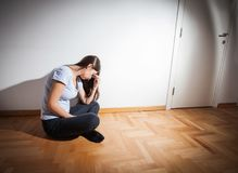 Depression Depressed woman Royalty Free Stock Images