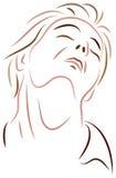 Depressed man. Isolated brush stroke art work Stock Photos