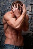 Depressed man. Male model in emothional emotional breakdown Stock Photography