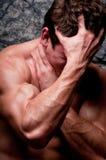 Depressed man. Male model in emothional emotional breakdown Stock Photos