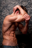 Depressed man. Male model in emothional emotional breakdown Royalty Free Stock Photography