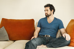 Depressed man with beard Royalty Free Stock Images