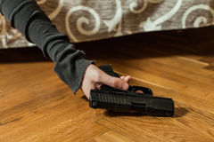 Depressed man commit suicide with gun shot. Suicide concept, depressed man commit suicide with gun shot Royalty Free Stock Photos