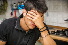 Depressed man hiding face with hand Royalty Free Stock Photo