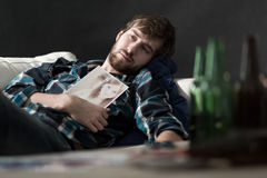 Depressed man after split up Stock Images