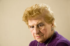 Depressed old woman. Royalty Free Stock Photography