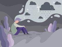 Depressed people. Loneliness alone in the city tired man rainy weather vector concept background. Illustration of man mental, tired and depression, stress vector illustration