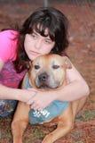Depressed sad teen girl  dog Stock Photography