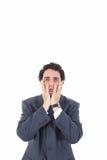 Depressed sad tired business man with desperate expression lizenzfreie stockbilder