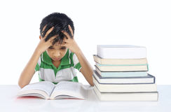 Depressed School boy. With Note Book Royalty Free Stock Photo