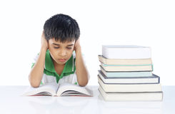 Depressed School boy. With Note Books Royalty Free Stock Photo