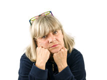 Depressed Senior Woman Royalty Free Stock Images