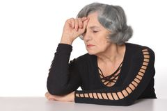 Depressed senior woman Stock Photo