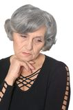 Depressed senior woman Stock Photos