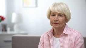 Free Depressed Senior Woman Looking At Camera, Social Insecurity, Low Incomes Stock Images - 157313114