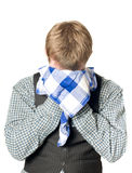 Depressed or sick man with handkerchief. On white Stock Photo