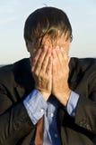 Depressed and stressed businessman Stock Photo