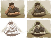 Depressed/Stressed man. Drawing of a man depressed or deep in thought vector illustration