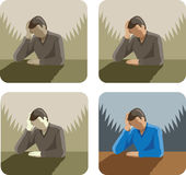 Depressed/Stressed man Icon Stock Photography