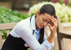 Depressed stressed woman Royalty Free Stock Photo