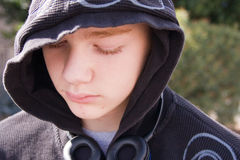 Depressed Teen. Closeup of a depressed or lonely teenage boy Royalty Free Stock Photos