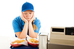 Depressed Teen Fast Food Server Royalty Free Stock Photography