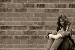 Depressed teen girl homeless Royalty Free Stock Photo