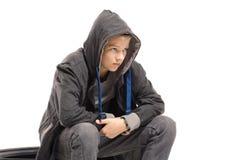 Depressed teenage boy royalty free stock photo