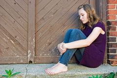 Depressed teenage girl Stock Images