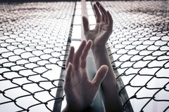 Depressed, trouble, help and chance. Hopeless women raise hand over chain-link fence ask for help royalty free stock photography