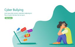 Depressed Because of Verbal Abuse from Internet Users stock illustration