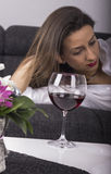 Depressed Woman with Alcohol Stock Photography