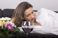 Depressed Woman with Alcohol Stock Image