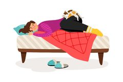 Depressed woman and cat. Sad woman in bed colorful icon on white background stock illustration