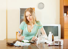 Depressed woman counting the cost of treatment Stock Photography