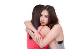Depressed woman embracing her friend. Royalty Free Stock Photo