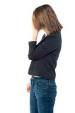 Depressed woman hiding her face Royalty Free Stock Photo