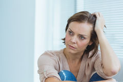 Depressed woman at home Royalty Free Stock Photo