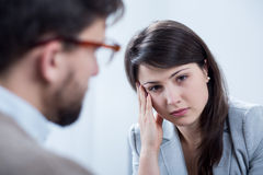 Depressed woman on session. Image of depressed women on session with psychologist Stock Photos