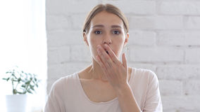 Depressed Woman in Shock, White Background Stock Image