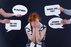 Depressed woman and word balloons Stock Images
