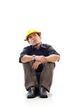 Depressed workers sit silently and looking up. Think isolated white background Stock Photos