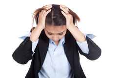 Depressed young Asian businesswoman Stock Photography