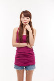 Depressed young Asian woman. Depressed young Asian woman  on white background Stock Photos